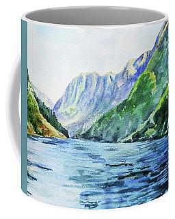 Mountains And Lake Watercolor Coffee Mug