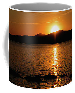 Mountains And River At Sunset Coffee Mug