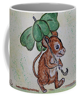 Mouse With Four Leaf Clover Umbrella Painting #893 Coffee Mug by Ella Kaye Dickey