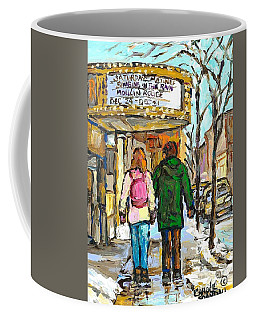 Coffee Mug featuring the painting Movie Marquee Painting Canadian Art Young Couple Winter Walk Park Ave Montreal Scene Carole Spandau  by Carole Spandau