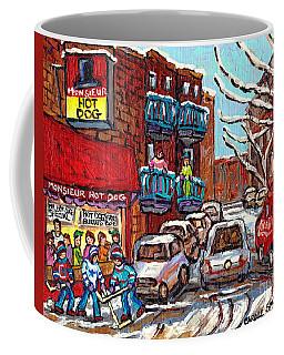 Mr Hot Dog Restaurant Montreal Memories Hockey Game Winter Street Scene Canadian Art Carole Spandau  Coffee Mug