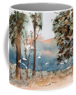 Mt Field Gum Tree Silhouettes Against Salmon Coloured Mountains Coffee Mug