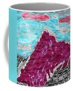 Coffee Mug featuring the tapestry - textile Mt. Fuji Village  by Don Koester