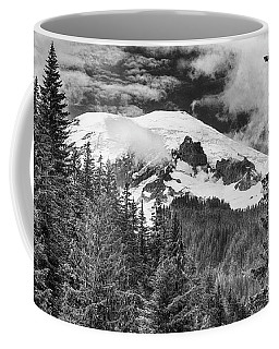Coffee Mug featuring the photograph Mt Rainier View - Bw by Stephen Stookey