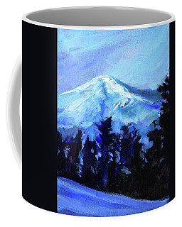 Coffee Mug featuring the painting Mt. Bachelor Snow by Nancy Merkle
