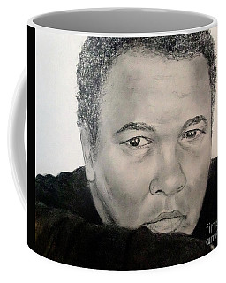 Coffee Mug featuring the drawing Muhammad Ali Formerly Known As Cassius Clay by Jim Fitzpatrick