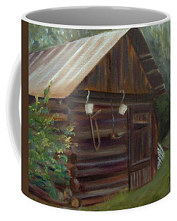 Coffee Mug featuring the painting Mulberry Farms Grainery by Donna Tuten