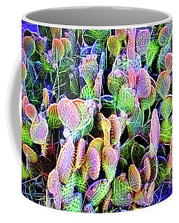 Coffee Mug featuring the digital art Multi-color Artistic Beaver Tail Cactus by Linda Phelps