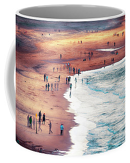 Coffee Mug featuring the photograph multiple exposure of people on North sea beach  by Ariadna De Raadt