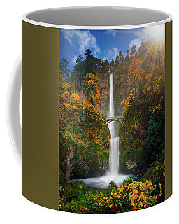 Multnomah Falls In Autumn Colors -panorama Coffee Mug