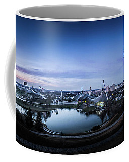 Coffee Mug featuring the photograph Munich - Watching The Sunset At The Olympiapark by Hannes Cmarits