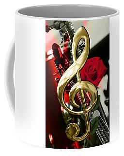 Musical Clef Rose Electric Guitar Art Coffee Mug