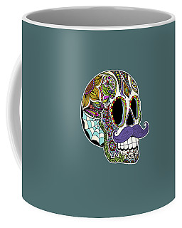 Mustache Sugar Skull Coffee Mug by Tammy Wetzel