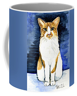 Coffee Mug featuring the painting Mustached Bicolor Beauty - Cat Portrait by Dora Hathazi Mendes