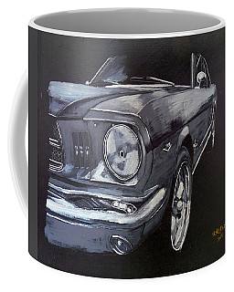 Coffee Mug featuring the painting Mustang Front by Richard Le Page