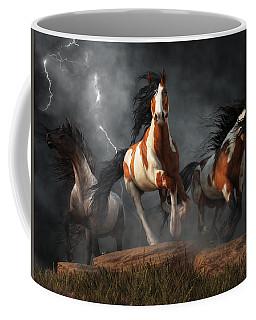 Mustangs Of The Storm Coffee Mug by Daniel Eskridge