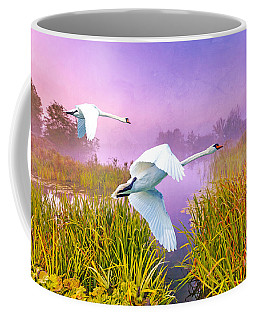 Mute Swans Over Marshes Coffee Mug