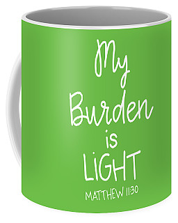 Coffee Mug featuring the mixed media My Burden by Nancy Ingersoll