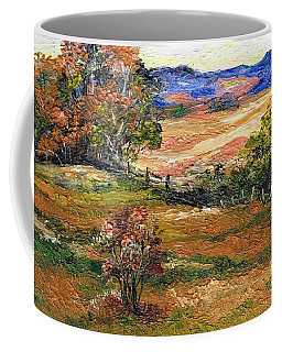 Coffee Mug featuring the painting My First Palette Knife Picture by Val Stokes