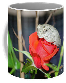 Coffee Mug featuring the photograph The Frog And Rose by Donna Brown