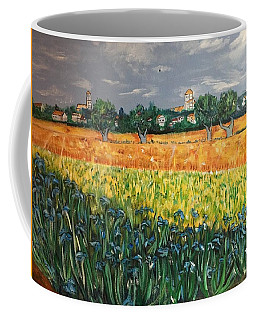 Coffee Mug featuring the painting My View Of Arles With Irises by Belinda Low