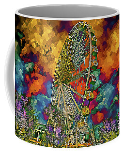 Coffee Mug featuring the photograph Myrtle Beach Skywheel Abstract by Bill Barber