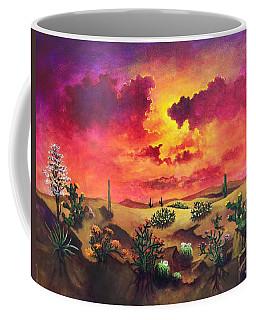 Coffee Mug featuring the painting Mystery Ofthe Desert by Randol Burns