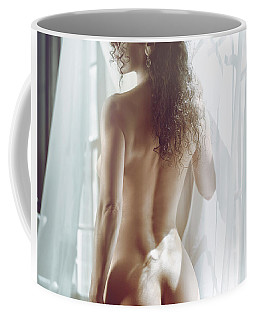 Naked Back Of A Beautiful Half Nude Woman Standing By The Window Coffee Mug