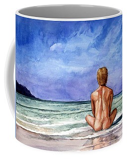 Naked Male Sleepy Ocean Coffee Mug