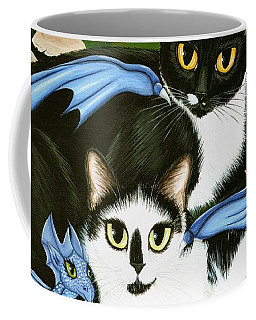 Nami And Rookia's Dragons - Tuxedo Cats Coffee Mug