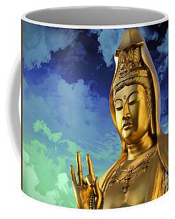 Coffee Mug featuring the mixed media Namo Guan Shi Yin Pusa by Lita Kelley