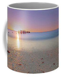 Naples Beach Sunset 3rd Ave Coffee Mug by Christopher L Thomley
