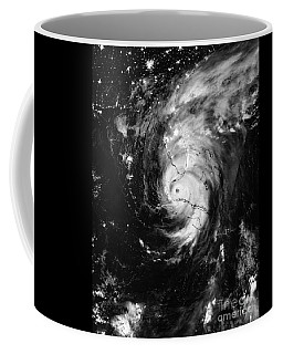Coffee Mug featuring the photograph Nasa Hurricane Irma Between Cuba And Florida Satellite Image by Rose Santuci-Sofranko