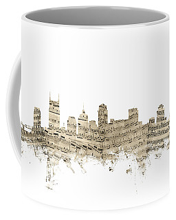 Nashville Tennessee Skyline Sheet Music Coffee Mug
