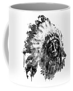 Coffee Mug featuring the mixed media Native American Chief Black And White by Marian Voicu