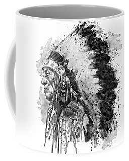 Coffee Mug featuring the mixed media Native American Chief Side Face Black And White by Marian Voicu