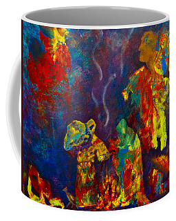 Coffee Mug featuring the painting Native American Fire Spirits by Claire Bull