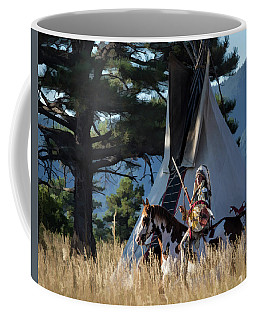 Native American In Full Headdress In Front Of Teepee Coffee Mug by Nadja Rider