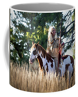 Native American In Full Headdress On A Paint Horse Coffee Mug by Nadja Rider