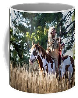 Native American In Full Headdress On A Paint Horse Coffee Mug