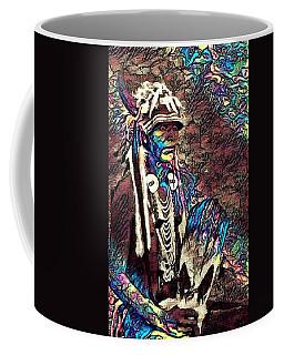 Plains Indian Warrior With Buffalo Headdress In The Trees Coffee Mug