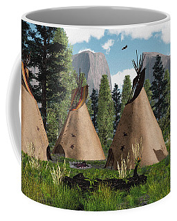 Native American Mountain Tepees Coffee Mug by Walter Colvin