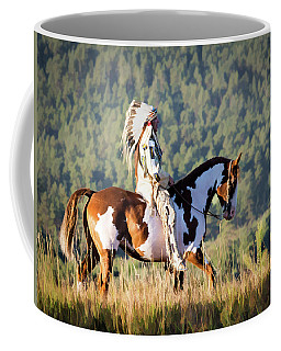Native American On His Paint Horse Coffee Mug by Nadja Rider