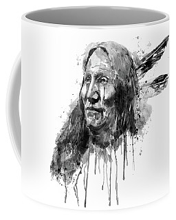 Coffee Mug featuring the mixed media Native American Portrait Black And White by Marian Voicu