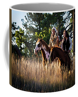 Native Americans On Horses In The Morning Light Coffee Mug by Nadja Rider