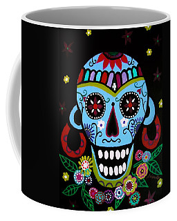 Coffee Mug featuring the painting Native Dia De Los Muertos Skull by Pristine Cartera Turkus