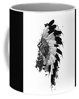 Native Headdress Black And White Coffee Mug