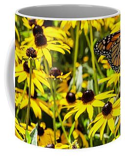 Monarch Butterfly On Yellow Flowers Coffee Mug