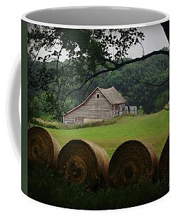 Natural Framed Barn And Bales Coffee Mug by Kathy M Krause