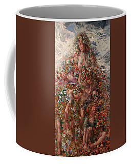 Coffee Mug featuring the painting Nature Or Abundance by Leon Frederic